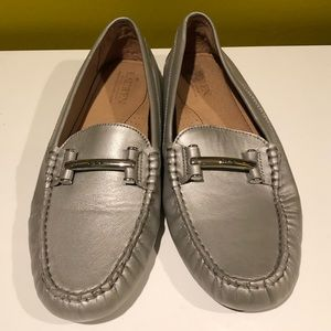 Ralph Lauren Silver Driving Loafers in Silver